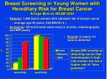breast screening in young women with hereditary risk for breast cancer kriege m et al nejm 2004