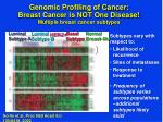 genomic profiling of cancer breast cancer is not one disease multiple breast cancer subtypes