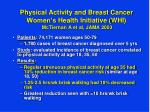 physical activity and breast cancer women s health initiative whi mctiernan a et al jama 2003