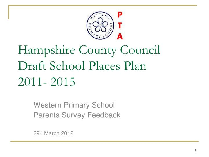Hampshire county council draft school places plan 2011 2015