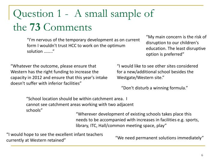 Question 1 -  A small sample of