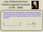 law of electrical force charles augustin coulomb 1736 1806