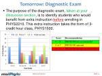 tomorrow diagnostic exam