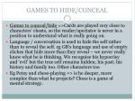 games to hide conceal