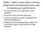 q2d i make a copy of your training programme and approaches you used to develop your performance