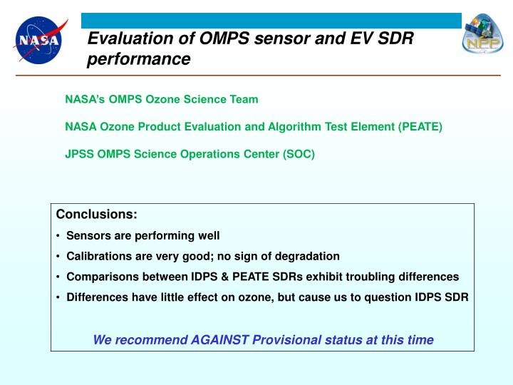 e valuation of omps sensor and ev sdr performance n.