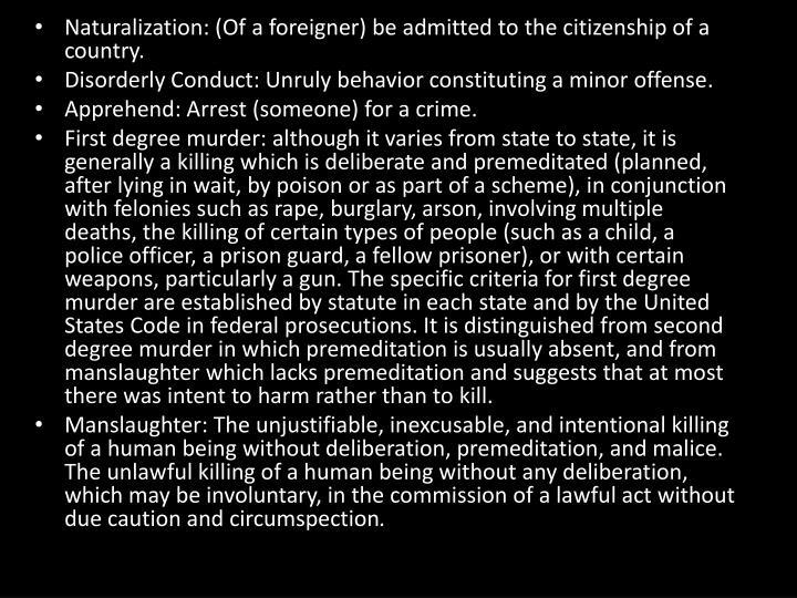 Naturalization: (Of