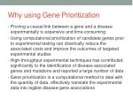 why using gene prioritization