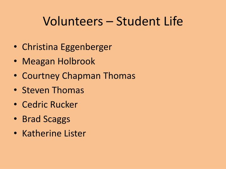 Volunteers – Student Life