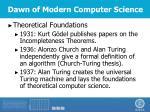 dawn of modern computer science