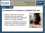 planned updates milestones and cbd