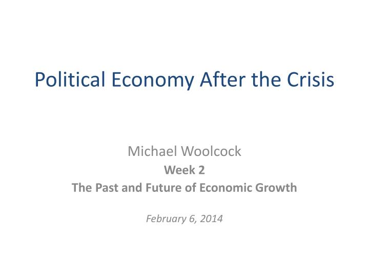 political economy after the crisis n.