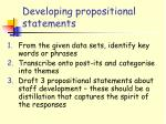 developing propositional statements