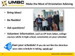 make the most of orientation advising