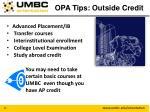 opa tips outside credit