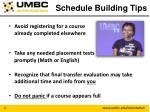 schedule building tips