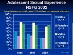 adolescent sexual experience nsfg 2002