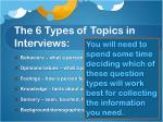 the 6 types of topics in interviews