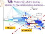 tjii alfv nic non alfv nic scalings distinguished by kullback leibler divergence