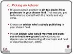 c picking an adviser