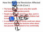 how the industrial revolution affected social life cont