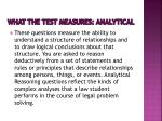 what the test measures analytical