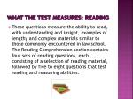what the test measures reading