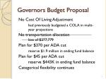 governors budget proposal