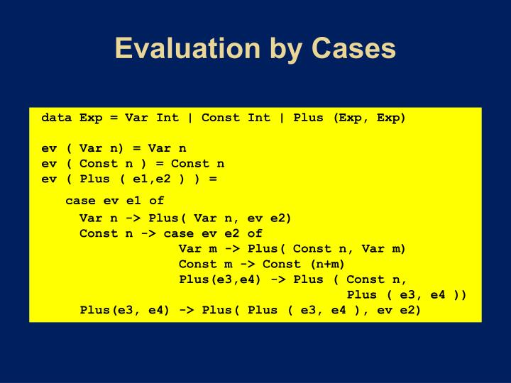 Evaluation by