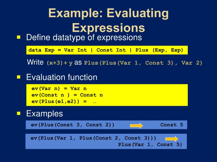 Example: Evaluating Expressions