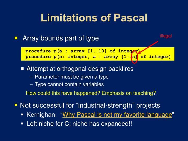 Limitations of Pascal