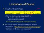limitations of pascal