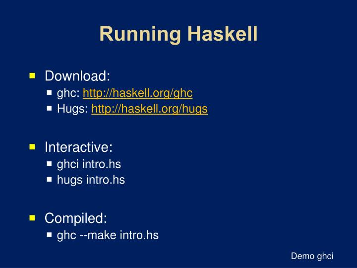 Running Haskell
