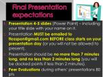 final presentation expectations