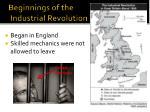 beginnings of the industrial revolution