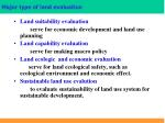 major type of land evaluation