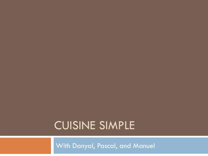 cuisine simple n.