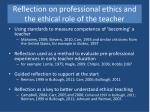 reflection on professional ethics and the ethical role of the teacher