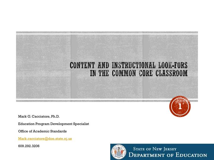 content and instructional look fors in the common core classroom n.