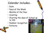 calendar includes