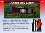 anzac day clash