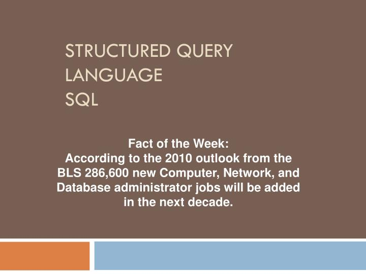 structured query language sql n.