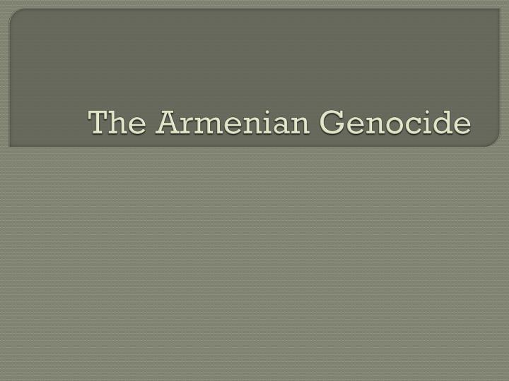 the armenian genocide n.