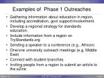 examples of phase 1 outreaches