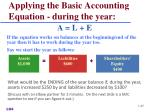 applying the basic accounting equation during the year