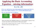 applying the basic accounting equation missing information