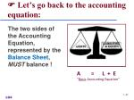 let s go back to the accounting equation