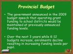 provincial budget