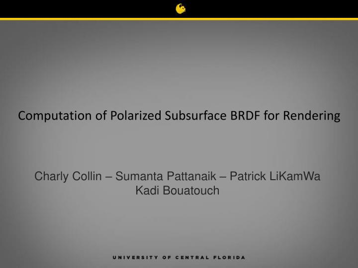 computation of polarized subsurface brdf for rendering n.