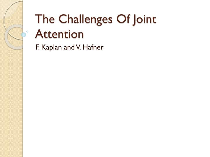 the challenges of joint attention n.